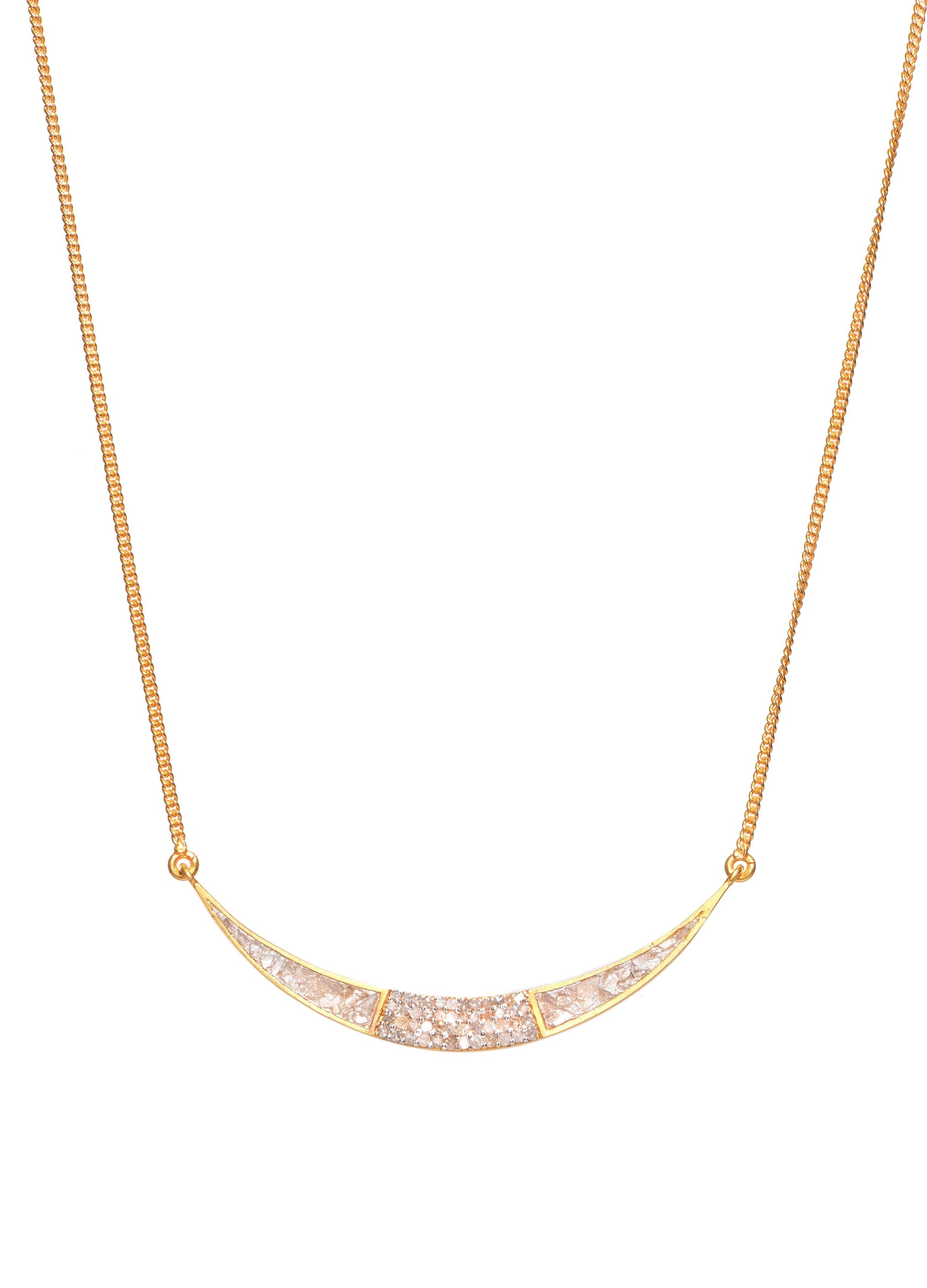 gold diamond crescent moon shaped pendant necklace