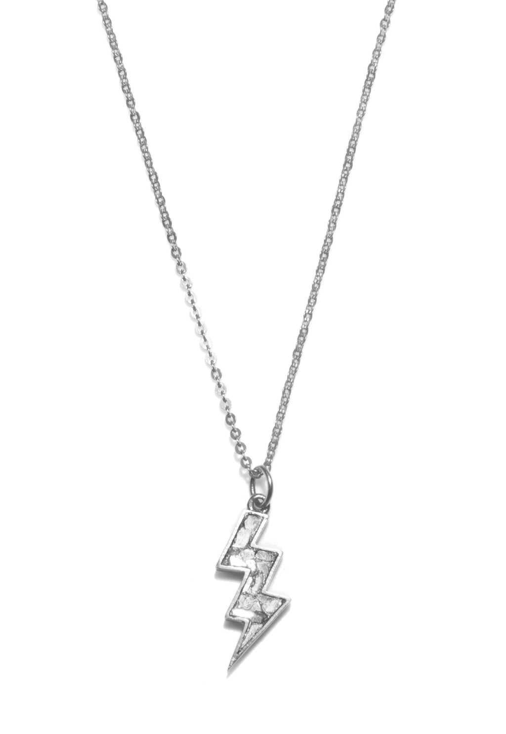 sterling silver diamond lightning bolt pendant necklace