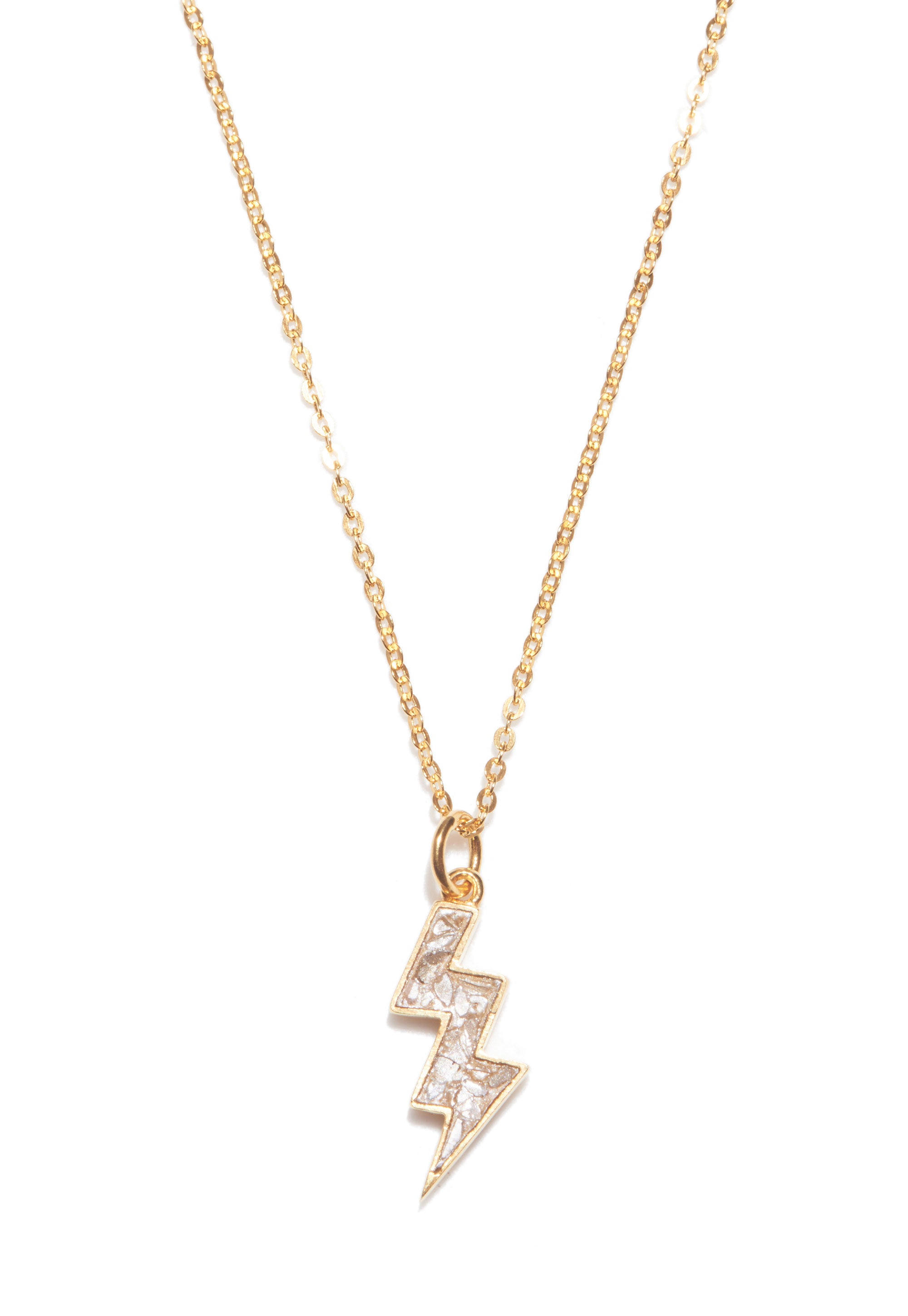 gold diamond lightning bolt pendant necklace