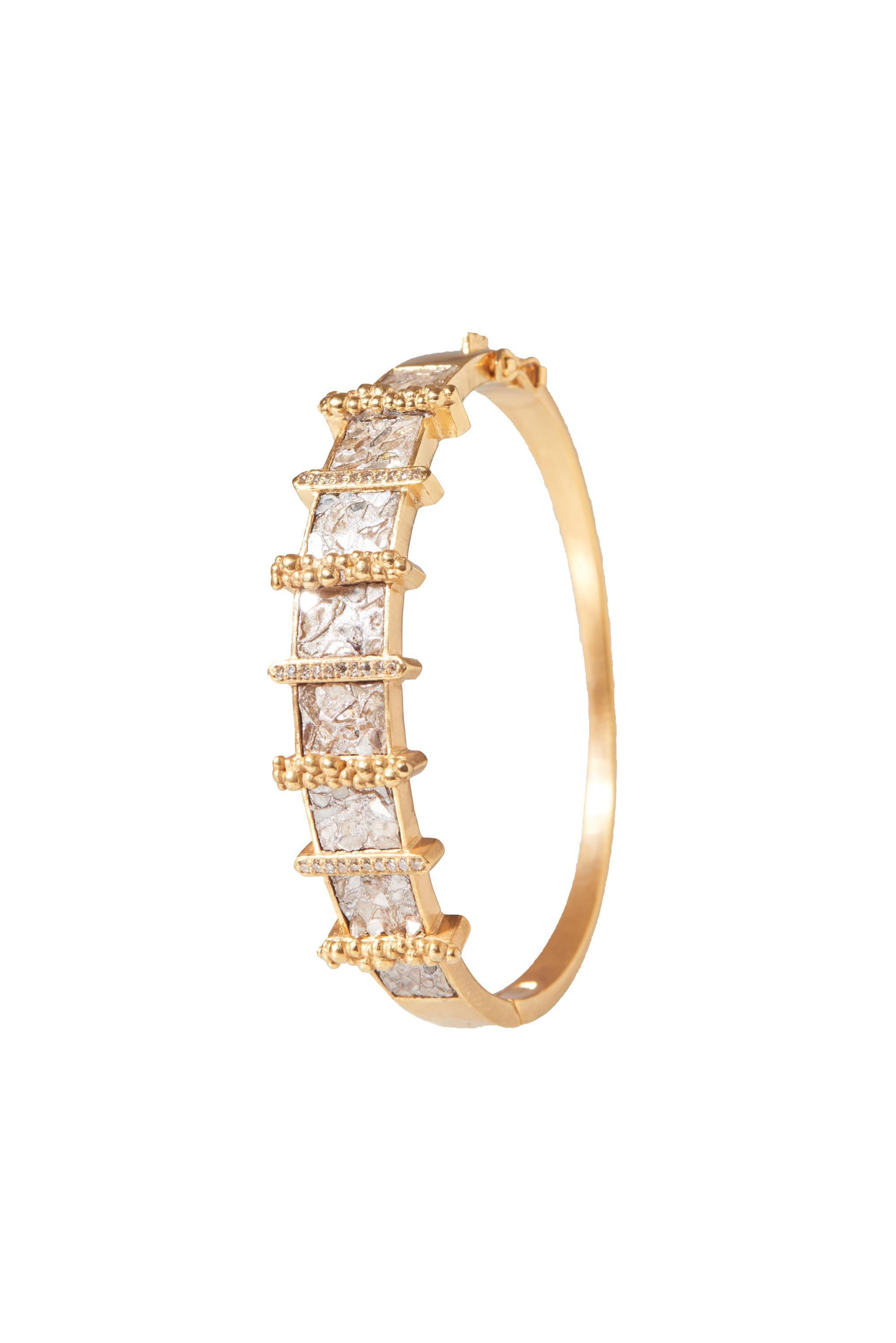 fancy uncut diamond 18k gold bangle