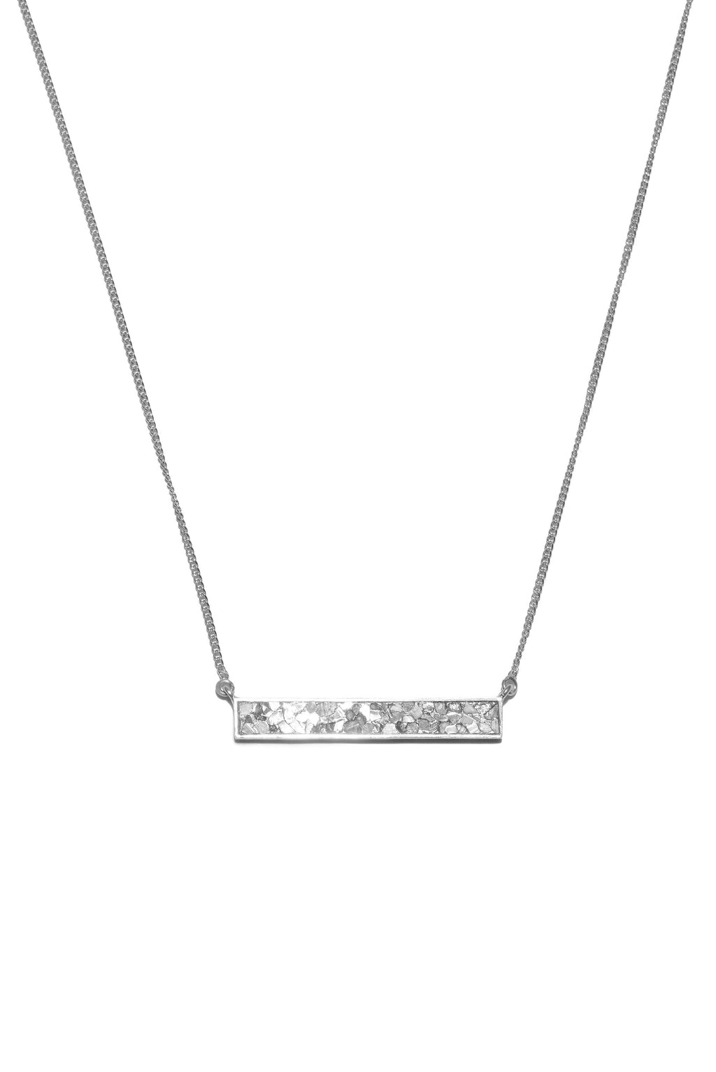 diamond rectangle sterling silver pendant necklace