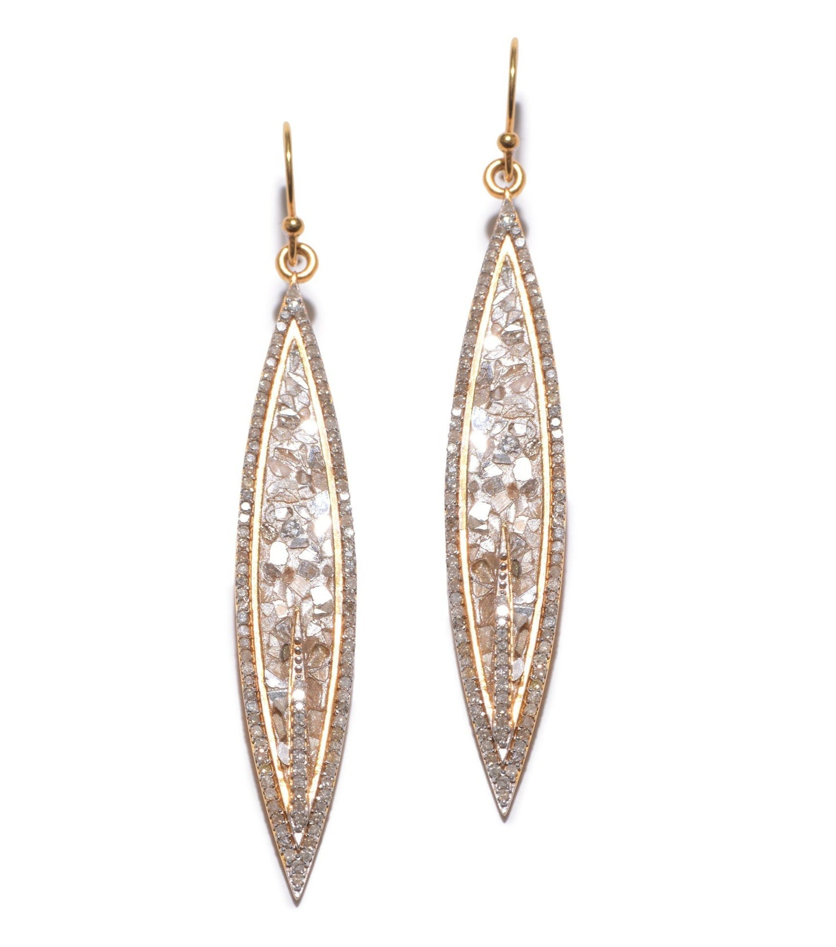 pave champagne diamond gold dangle earrings