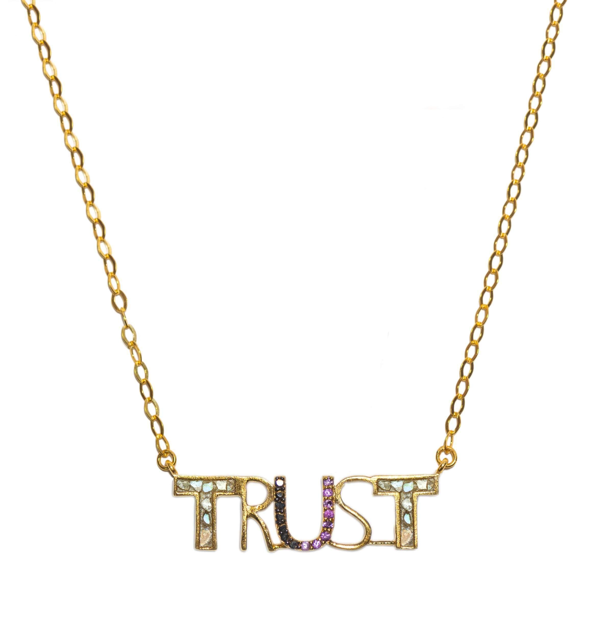 trust word pendant necklace