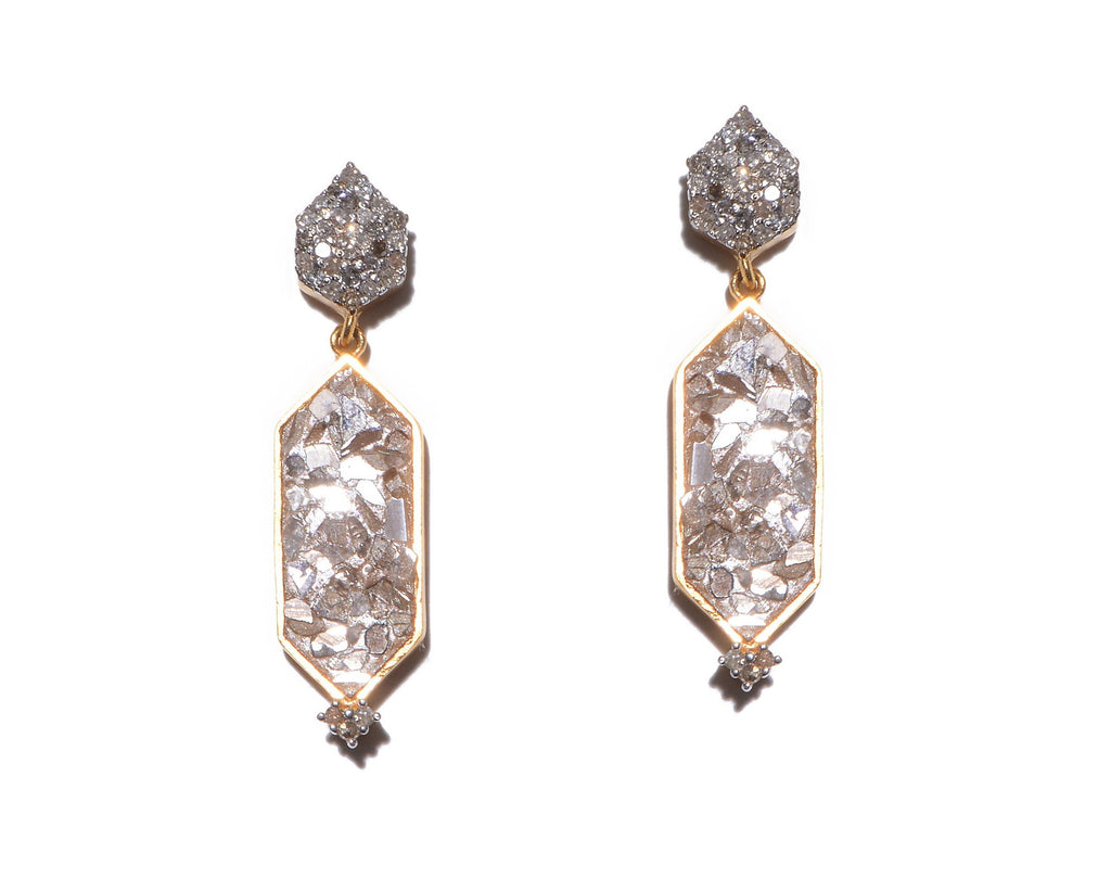 gold pave champagne diamond drop earrings