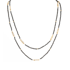 gold pyrite beaded necklace
