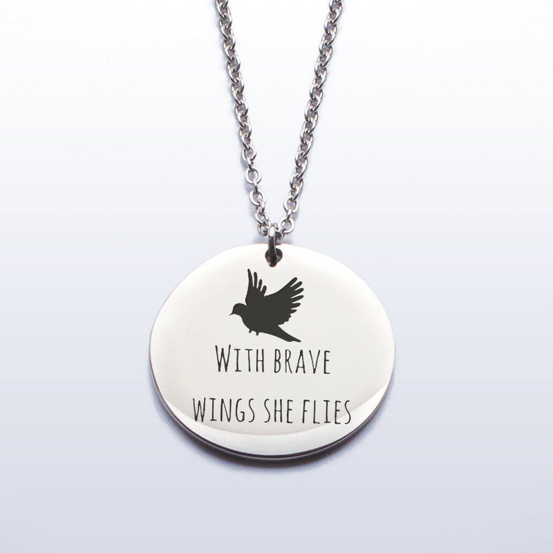 'with brave wing she flies'  Stainless Steel Pendant