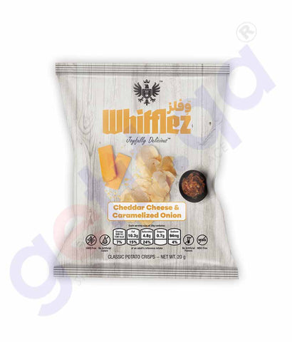 WHIFFLEZ CLASSIC CHEDDAR CHEESE & CARMALIZED ONION 20G