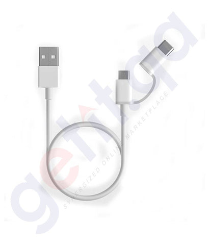 Buy Mi 2-in-1 USB Cable Micro USB to Type C 30cm in Doha Qatar