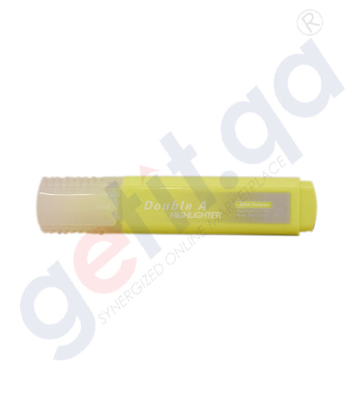 DOUBLE A HIGHLIGHTER - PACK OF 10'S BRIGHT YELLOW