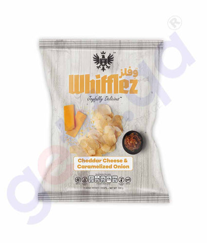 WHIFFLEZ CLASSIC CHEDDAR CHEESE & CARMALIZED ONION 100G