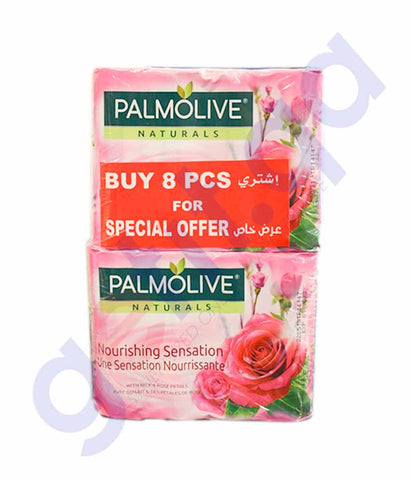 Buy Palmolive Natural Milk & Rose Soap 90g 8Pcs Doha Qatar