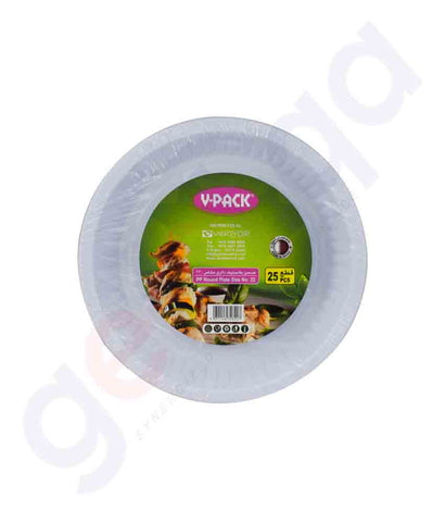 Buy V-Pack Round Plate Size No 22- 25pcs/Pkt in Doha Qatar