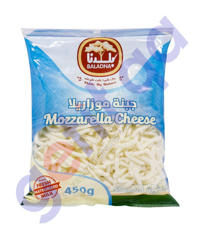 Buy Baladna Shredded Full Fat Mozzarella Cheese 450G Doha Qatar