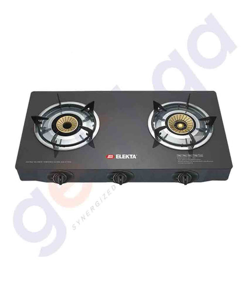 ELEKTA 2 BURNER TABLE GLASS STOVE (BLACK) - EGC-207(GB)