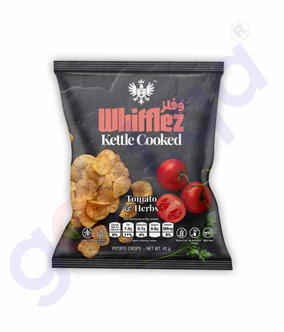 Buy Whifflez Kettle Chips Tomato & Herbs 40gm in Doha Qatar