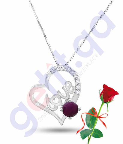 Buy Valentine Love Pendant with Rose Price Online in Qatar