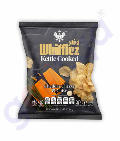 Buy Whifflez Kettle Chips Cheddar Cheese Chive 40g Doha Qatar