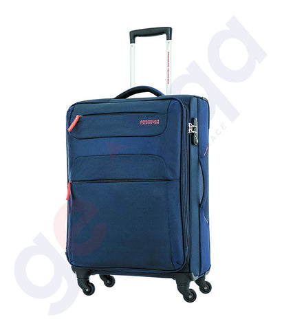 Buy American Tourister Polyester 68cm navy blue soft sided Suitcase Trolley Baq Doha Qatar