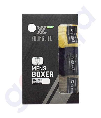 Buy Younglife Pro Mens Boxer 3pcs Pack Cotton in Doha Qatar