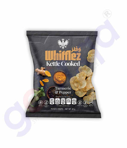 Buy Whifflez Kettle Chips Turmeric & Pepper 40g Doha Qatar