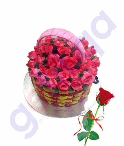 Buy Basket Cake 1.5kg with Red Rose Price Online Doha Qatar