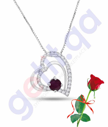 Buy Valentine Double Heart Pendant with Rose Price in Qatar