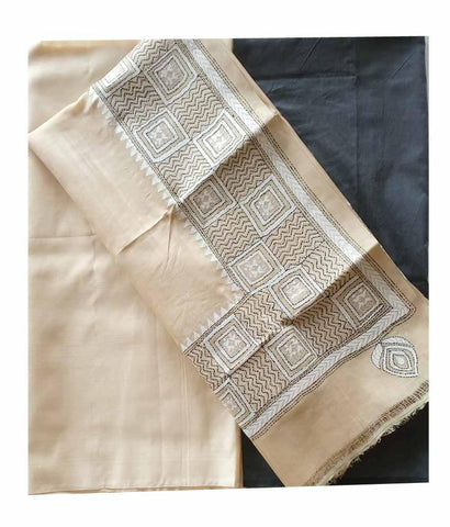 Buy Churidar Material: Top in Dessy Tussar Silk Dupatta in Kanta Tussar Silk and Bottom in Cotton Silk (Un-stitched) -180100342