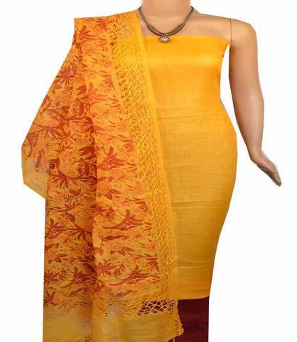 BUy Churidar Material: Top in Linen, Dupatta in Linen and Bottom in Cotton Silk (Un-stitched)-180100397