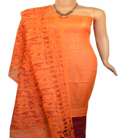 Churidar Material: Top in Linen, Duppata in Linen and Bottom in Cotton Silk (Un-stitched-180100398