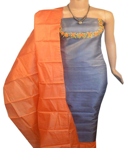 Churidar Material: Top in Tussar Silk, Duppata Tussar Silk and Bottom in Cotton Silk (Un-stitched) - 180100466