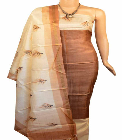 Churidar Material: Top in Tussar silk , Dupatta in Tussar Silk and Bottom in Cotton Silk (Un-stitched) -180100507