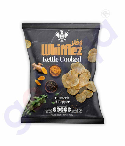 Buy Whifflez Kettle Chips Turmeric & Pepper 150g Doha Qatar