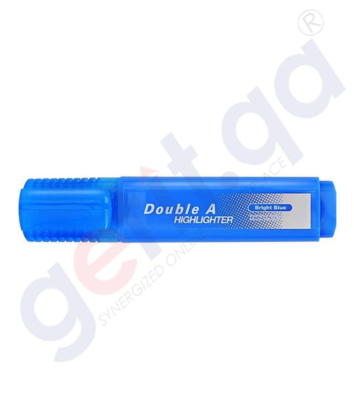 DOUBLE A HIGHLIGHTER - PACK OF 10'S BRIGHT BLUE
