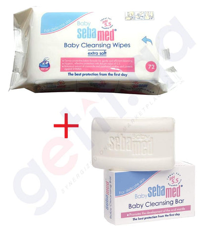 SEBAMED Baby Wet wipes 72's  +  Baby Cleansing bar 150gms (FREE)
