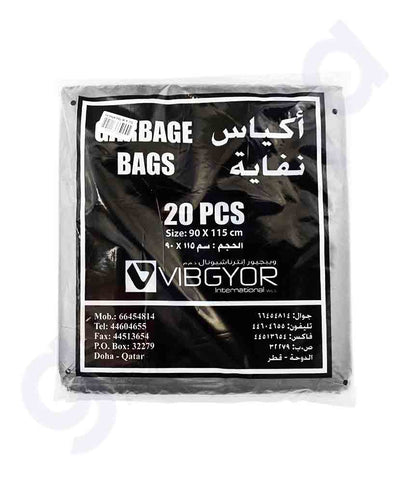 Buy Vibgyor Garbage Bag 90x115- 55 Gallon- 20pcs Doha Qatar