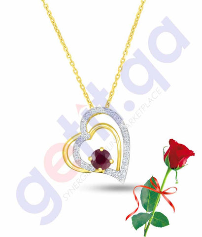 Buy Valentine Dual Heart Pendant with Rose Price in Qatar