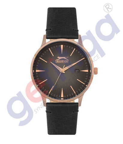 SLAZENGER GENTS 3H DATE FN ROSE CASE D.BROWN LEATHER BAND D.BROWN DIAL