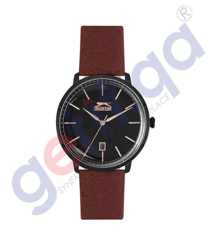 SLAZENGER GENTS 3H DATE FN SS CASE L.BROWN LEATHER BAND BLACK DIAL