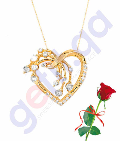 Buy Valentine Heart Pendant with Rose Price Online in Qatar
