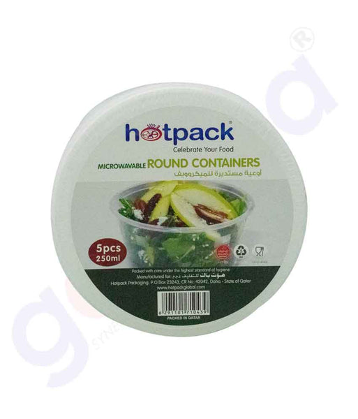 GETIT.QA | Buy Hotpack Microwaveable Round Container Lid 250ml 5pcs in Doha Qatar