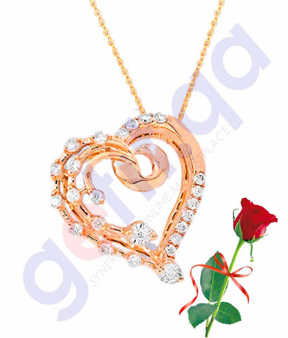 Buy Valentine Pendant with Rose Price Online in Doha Qatar