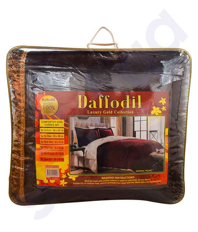 Buy Duffodil Velvet Comforter 10pc Set Brown Online in Doha Qatar