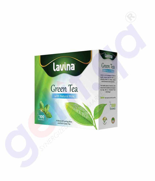 GETIT.QA | Buy Lavina Pure Green Tea Mint 100Bags Price Online Doha Qatar