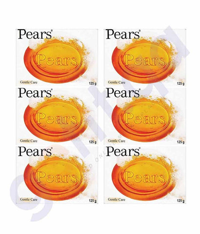 PEARS PURE & GENTLE SOAP 6 PACK 125GM AMBER