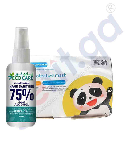 KIDS FACE MASK 50 PCS + ECO CARE SANITIZER 100ML