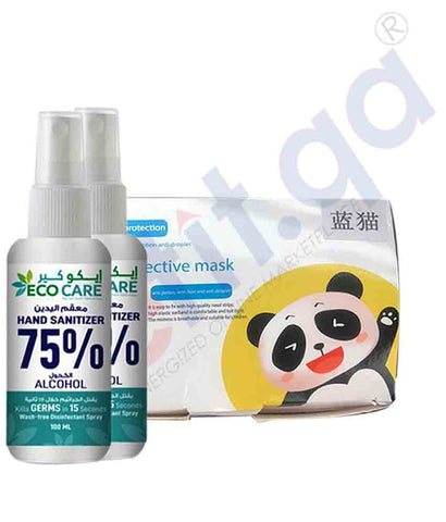 KIDS FACE MASK 50 PCS + ECO CARE SANITIZER 100ML X 2