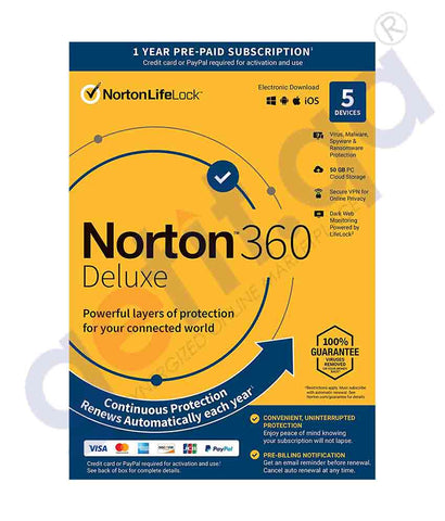 GETIT.QA | Buy Norton 360 Deluxe 50GB AR 5-User Online in Doha Qatar