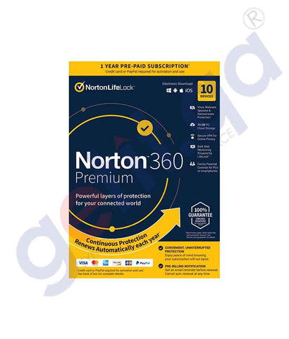GETIT.QA | Buy Norton 360 Premium 75GB AR 10-User Online in Doha Qatar
