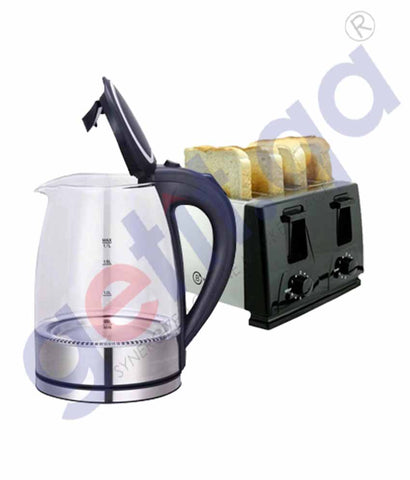 Buy Belaco Glass Kettle with LED+ Toaster Online Doha Qatar