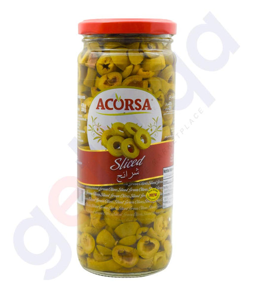 ACORSA OLIVES GREEN SLICED JAR